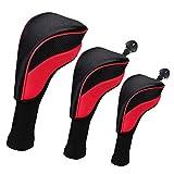 perfeclan 3er Set Golf Schlägerkopfhüllen Golf Headcovers Golfschlägerhaube für Hybrid Holz...