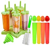 Gyvazla Eisformen, 6 Stck Eisformen Popsicle Formen Set, 4 Stck Silikon Stck Eislutscher Formen,...