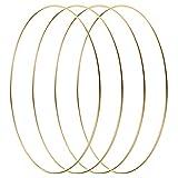 LIHAO 4 Stück 30cm Gold Metallring Kranz Ringe Hängedekoration Ringe Floral Hoops Ringe Kranz für...