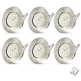 6 Stück LED Einbauleuchten Ultra Slim 5W Badstrahler IP44 Downlight 240V Warmweiß Chrom gebürstet