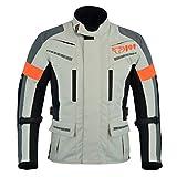 Jet Motorradjacke Herren Mit Protektoren Textil Wasserdicht Winddicht Silber Grau (XL (EU 52-54))