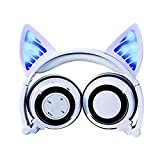SFBBBO Headset Drahtlose Bluetooth-LED blinkende Kopfhörer Cat Ear Music Stereo-Headset...