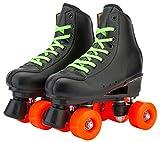 Hmwxbs Retro Leder Rollschuhe mit Orangefarbenem Rad, Jugend Rollschuhe, 4 Räder Verschleißfestes...