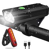 WQJifv LED Fahrradlicht Set, StVZO Zugelassen Superhelle 400 Lumen USB Wiederaufladbare Frontlicht...
