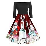 Damen Vintage-Weihnachtskleid, schulterfrei, lange Ärmel, Weihnachtsmann Elch Print, schmale...