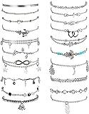 Milacolato 20Pcs Knöchel Armbänder Für Frauen Fußkette Damen Fußkettchen Für Damen...