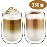 Glastal Doppelwandige Latte Macchiato Glaser Set Thermoglas Kaffeeglas Trinkglser 2-teiliges 350ml...