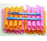 Manuelle Lockenwickler, Marmor, aus Kunststoff, mit Friseurwerkzeug, für Damen, 45 cm, Orange und...