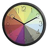 Genbaly Kinder Wanduhr (Ø) 30cm Kinder Wanduhr mit lautlosem Uhrwerk und farbenfrohen Regenbogen...