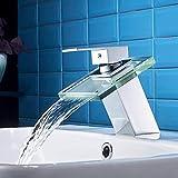 AuraLum Wasserhahn Waschtischarmatur Wasserfall Einhandmischer fr Bad Badezimmer Waschbecken,...