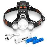 DMSPORT Stirnlampe LED wiederaufladbar mit Rücklicht inklusive Powerbank | LED Kopflampe extrem...