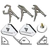 STAHLWERK Schweißzubehör Mini Werkzeug Magnet-Schweißwinkel + Gripzangen + Magnet-Masseklemme,...