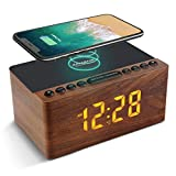 ANJANK Digitaler Radiowecker aus Holz mit Kabelloser Ladestation,10W Fast Wireless Charger for...