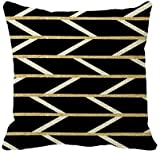 HGFK Kissenbezug Modern Faux Gold Glitter Black Chevron Pattern Throw Pillow Cover 16 x 16in