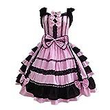 Anime Cosplay Kostüm Damen Lolita Nette Kleid Frauen Lace Langarm A-Linien Kleid Bowtie Cosplay...