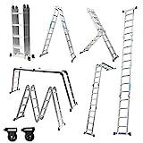 Aufun Alu Multifunktionsleiter 6 in 1 Leitergerst 4 x 4 Sprossen Leiter Klappleiter Verstellbar...