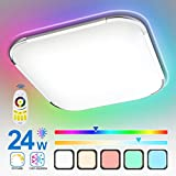Hengda 24W RGB LED Deckenleuchte, Deckenlampe Dimmbar, RGB Farbwechsel, Kalt bis...