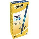 BIC Druckkugelschreiber Soft Feel Clic Grip – 12 Kugelschreiber in Blau – Strichstärke 0,4 mm...