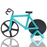 Fahrrad Pizzaschneider, Antihaftbeschichteter Edelstahl Pizzaroller mit Ständer (Himmelblau, 19cm *...