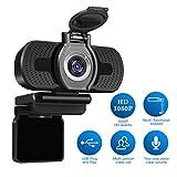 Full HD Webcam 1080p Videokamera mit Webcam-Abdeckung, LarmTek USB Webcam mit Eingebautes Mikrofon,...