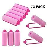 Luckkyme 72 Stück rosa Schaumstoff-Haarroller, flexibel, Lockenwickler, weiche Schwamm,...