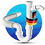LOBENSWERK® Siphon für Küchenspüle mit flexiblem Ablaufschlauch - 100% Wasserdicht -...