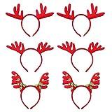TYWZJ 6pcs Weihnachtsgeweih Stirnband Hirsch Kostüm Stirnband Weihnachtshaar Reifen mit Glocke für...