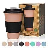 bambuswald 450ml kologischer Kaffeebecher to Go mit Silikondeckel | wiederverwendbarer &...
