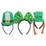 VALICLUD 3Pcs Lustige St. Patricks Day Stirnbänder mit Shamrock Clover Bogen Kobold Hut Stoff...