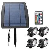 Pssopp LED-Solar-Teich-Strahler 4-in-1-Fernbedienung Solar-Landschaftslichter Wasserdichter Strahler...