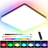 RGB LED Deckenleuchte Dimmbar, Oeegoo 24W LED Deckenlampe Mit Fernbedienung, Flimmerfreie LED Lampe...