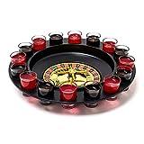 Relaxdays Roulette Trinkspiel, Partyspiel mit Drehrad, Schnapsgläsern & Kugeln, Roulettespiel für...