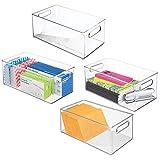 mDesign 4er-Set Aufbewahrungsbox mit Tragegriffen für Bürobedarf – lange Sortierbox aus...