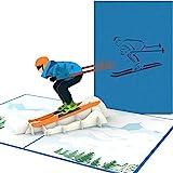 PaperCrush® Pop-Up Karte Skifahrer [NEU!] - Handgemachte Gutscheinkarte für Skifahren, Gutschein...