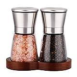 LessMo Gewürzmühle 2er Set mit verstellbarem Keramikmahlwerk - Edle Salzmühle & Pfeffermühle aus...