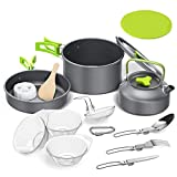 Tokmali Camping Kochgeschirr Set 14-TLG Camping Kochtopf Set aus Edelstah Kochausrüstung für...