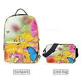 LUPINZ Mehrzweck-Rucksack mit abnehmbarer Umhängetasche, Motiv: Frühlingsblumen und Schmetterlinge