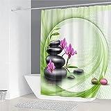 XCBN Bambus fließendes Wasser grün Bambus Duschvorhang Vorhang wasserdicht und schimmelresistent...