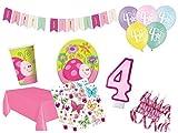 XL Party Deko Set 4.Geburtstag Käfer rosa Mädchen bunt Kindergeburtstag 53 teilig 12 Personen...