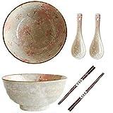 2 Sets Keramik Japanisches Ramen Bowl Set 40 Unzen Suppentassen mit passenden Löffeln und...