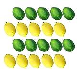 Amosfun 1 Set 20Pcs Künstliche Zitrone Simulation Lebendige Gelb Grüne Zitrone Modell Foto Prop...