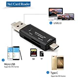 USB-Typ C Kartenlesegerät, SD/Micro SD Kartenleser Speicherkartenleser mit Micro USB OTG, USB 2.0...
