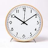 ALEENFOON 8.6 Zoll Holz Uhr Modern Leise Wanduhren Tischuhr für Wohnzimmer Küche Ohne...