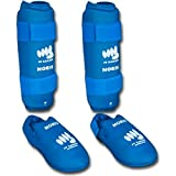 Noris Schienbeinschoner und Füße, Zertifiziert FF Karate, Blau – Blau XL blau