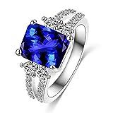 Verlobungsring / Verlobungsring mit großem blauem Zirkonia