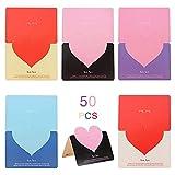 Huture 50 Stück Grußkarte Dankskarten Einladungskarte Geschenkkarten Herzförmige Papierkarte...