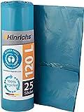 Hinrichs Müllsäcke 120L Blau - Extrem Reißfest - 25 Stück - Typ 100 Extra - Müllbeutel 120 L -...