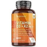 Vitamin D3 + K2 Tabletten - 180 Stück mit 99,7+% All-Trans MK-7-1 Tablette alle 4 Tage - Geprüft &...