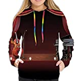 LUOBOGAN Women's Hoodie Sweatshirt,Orchestra Symphony Theme Stage Curtains Piano Cello Music...
