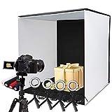 SAMTIAN Fotostudio 60x60x60cm, faltbar Fotobox Lichtzelt mit 4 Ringlichtern, 5 Stativen und 4...